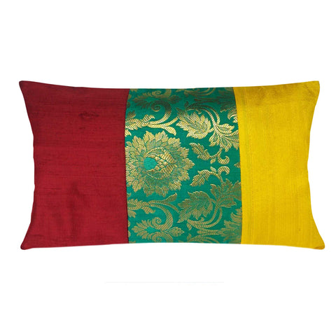 Maroon Teal and Yellow Raw Silk Pillow Cover Buy Online From DesiCrafts