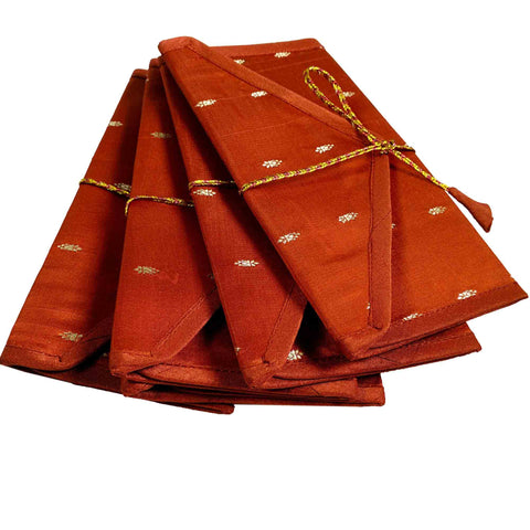 Set of 5 Marsala and Silver Silk Fabric Gift Envelopes