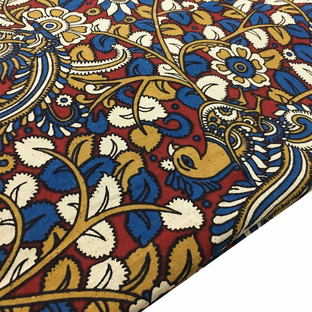 Rust and Mustard Peacock Kalamkari Fabric