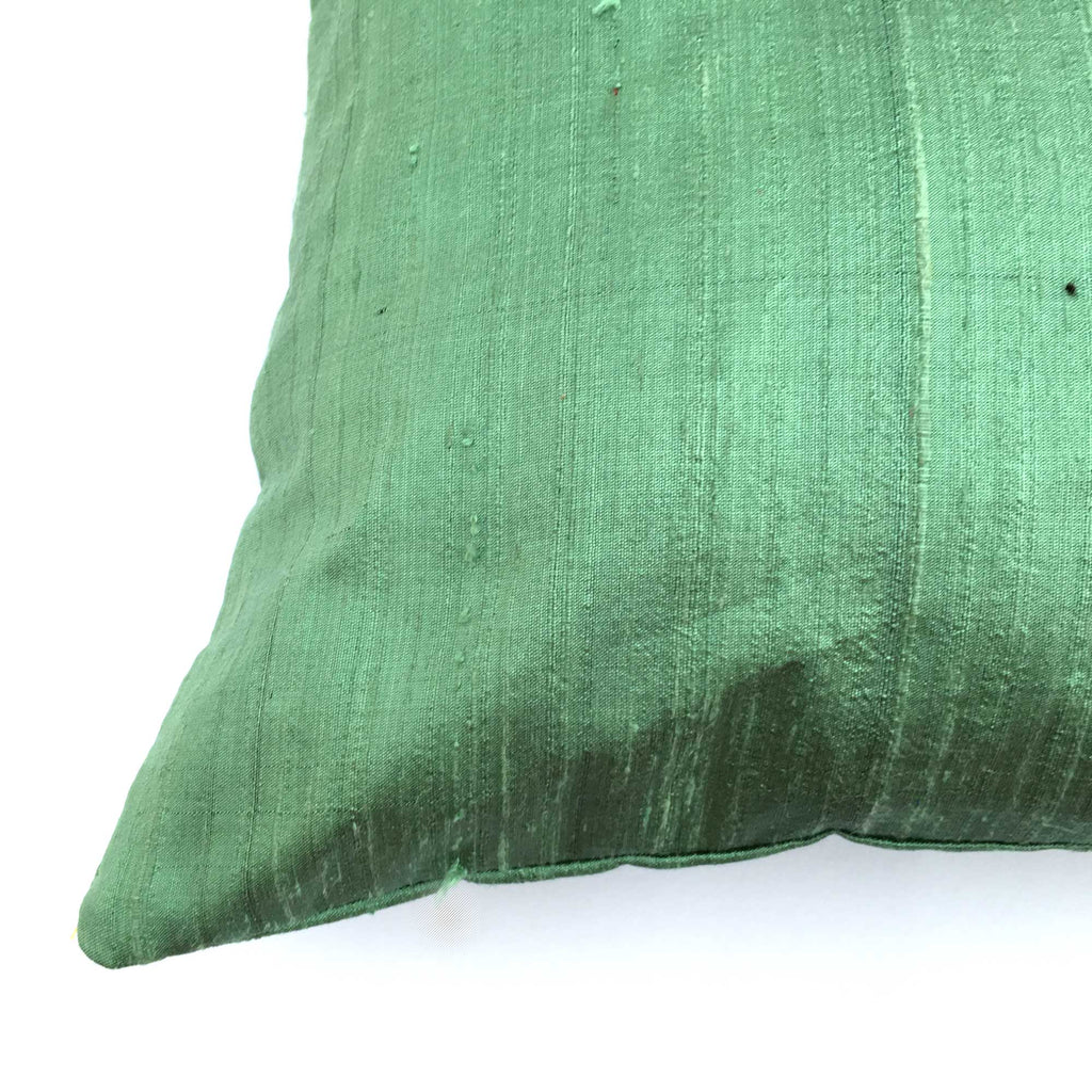 Dark Mint Solid Color Raw Silk Pillow Cover Corner