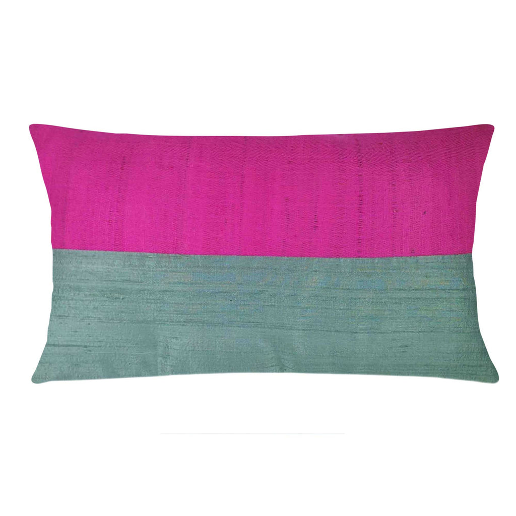Mint plum tussar silk cushion cover buy online from DesiCrafts