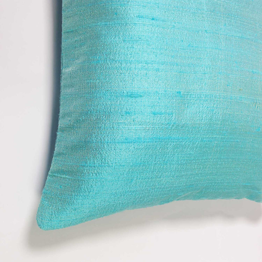 Raw Silk Pillow Cover in Cool Mint
