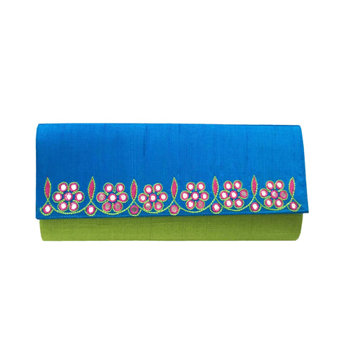 Apple Green Silk Clutch Purse