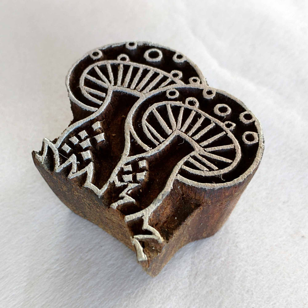 Kawaii Mushrooms Wooden Block Printing Stamp