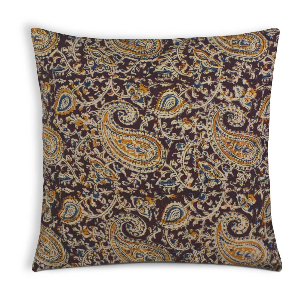 Mustard Kalamkari Cotton Pillow Cover Buy Online From DesiCrafts