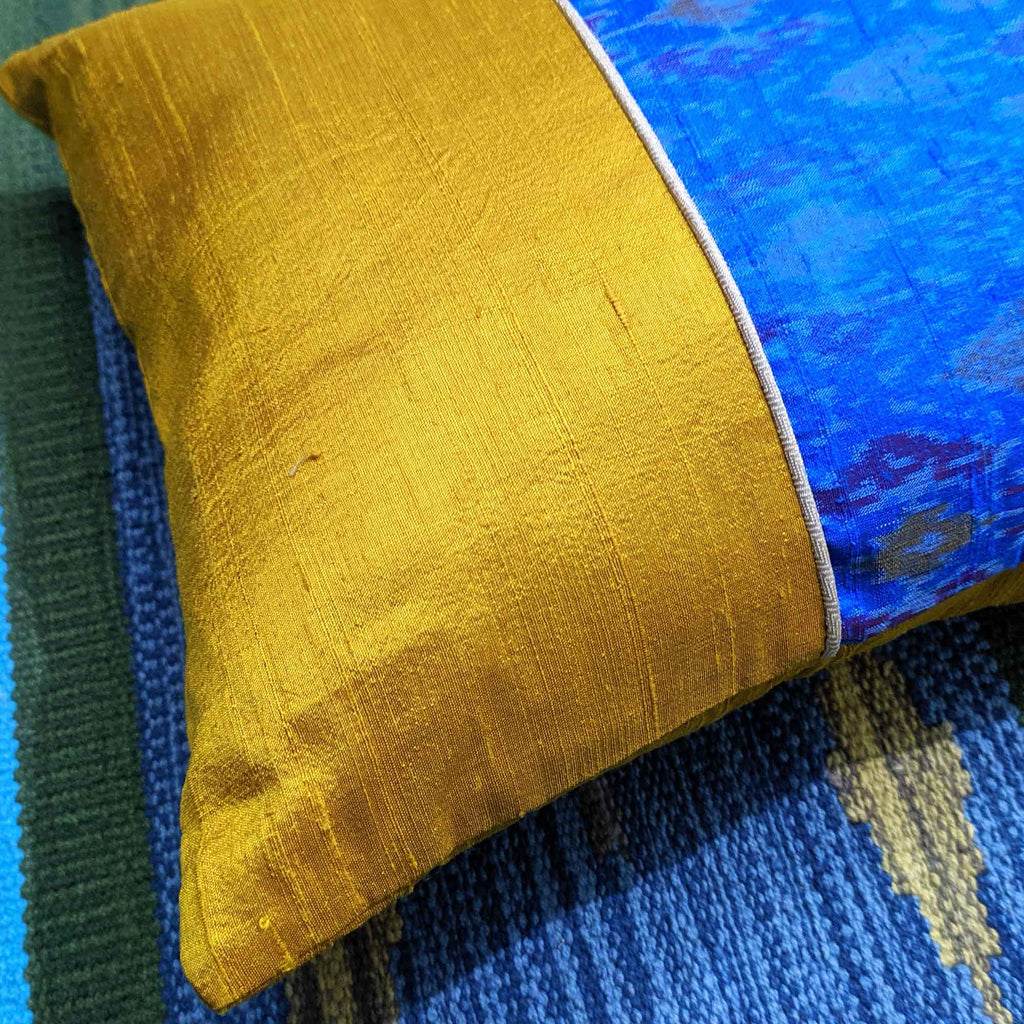 Turquoise Ikat Raw Silk Pillow