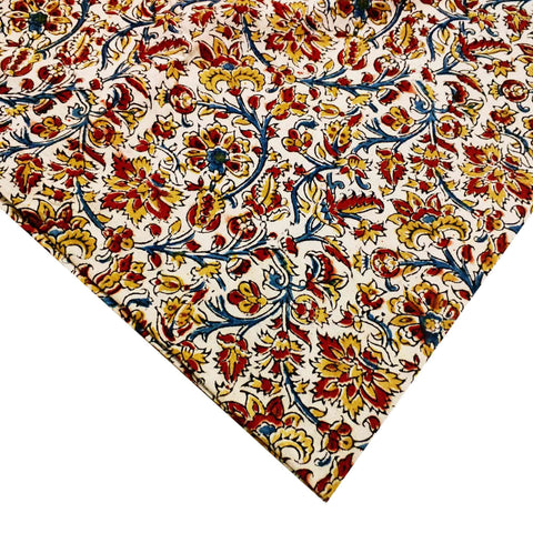 Rust and Mustard Floral Kalamkari Art Fabric