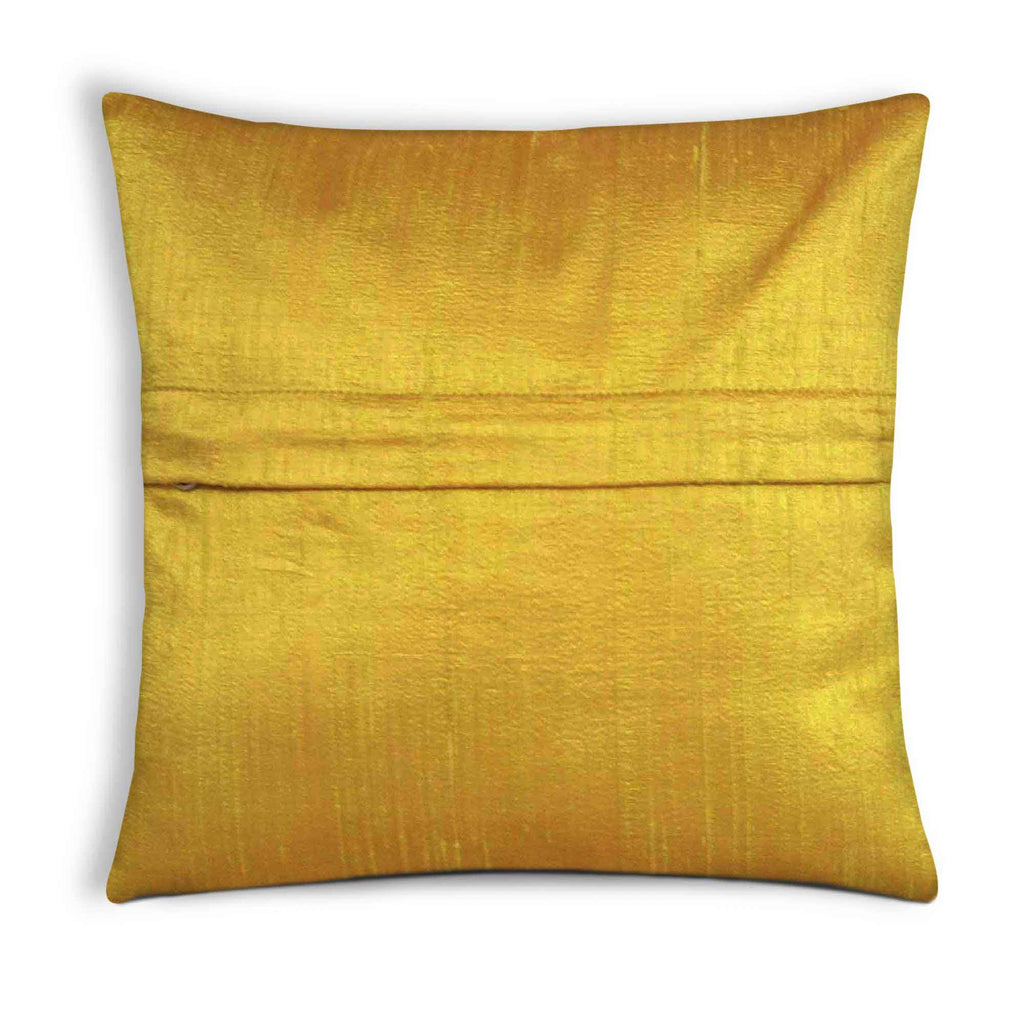 Mustard Raw Silk Cushion Cover