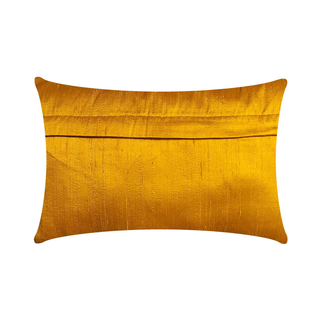 Mustard and Blue Raw Silk Pillow