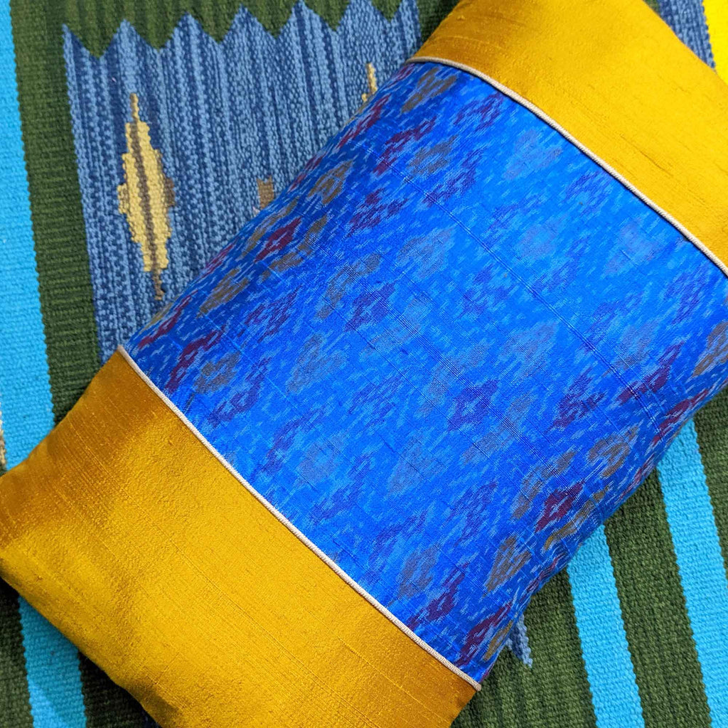 Turquoise Raw Silk Lumbar Cushion Cover