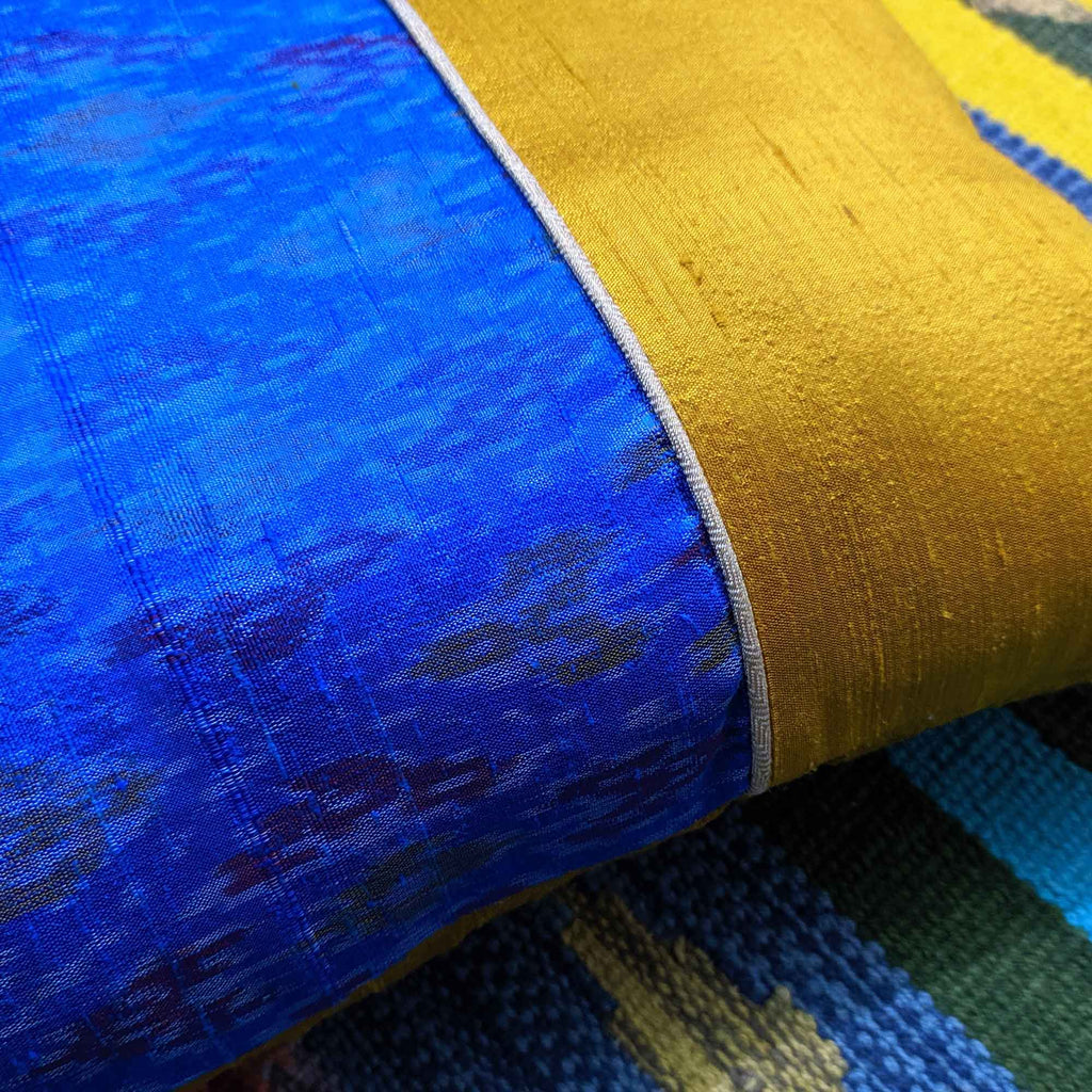 Mustard and Blue Raw Silk Pillow Cover