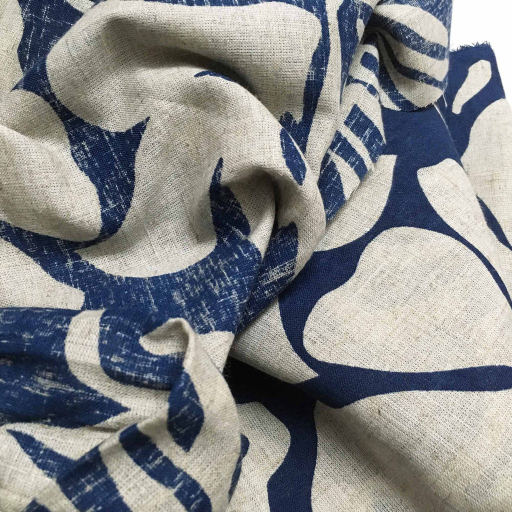 Cobalt Gray Pure Linen Printed Fabric