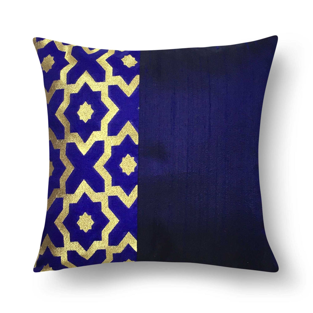 Navy and Gold Damask Raw Silk Lumbar Pillow Cover