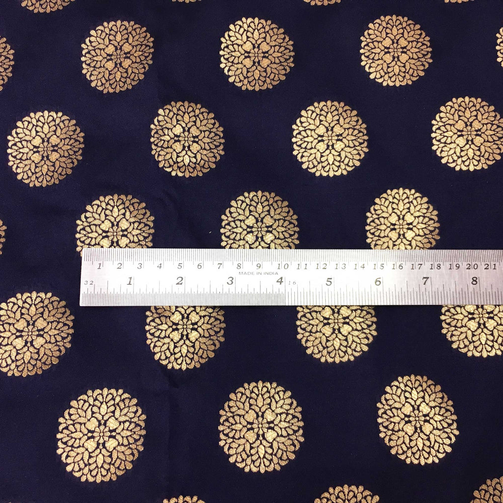 Navy and Gold Mandala Banaras Jacquard Silk Fabric