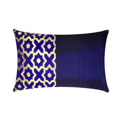 Royal blue and Gold Damask Raw Silk Lumber Pillow Cover Buy Online From DesiCrafts