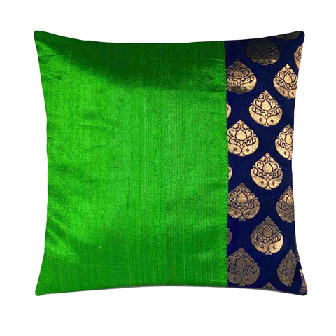 Nevy and green raw silk cushion cover buy online from DesiCrafts
