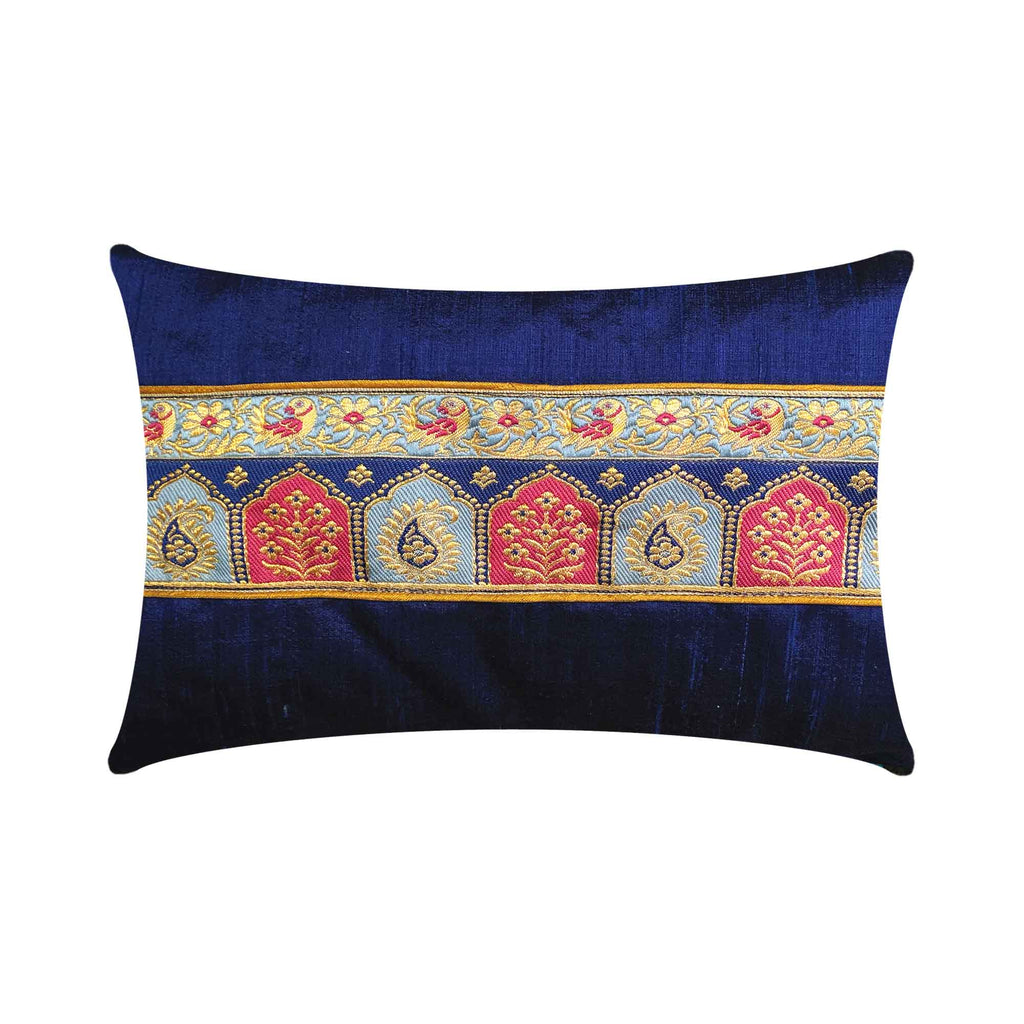 Temple design silk lumbar pillow cover
