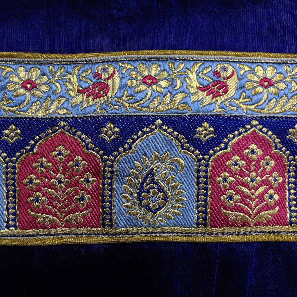 Handmade Temple border raw silk pillow cover