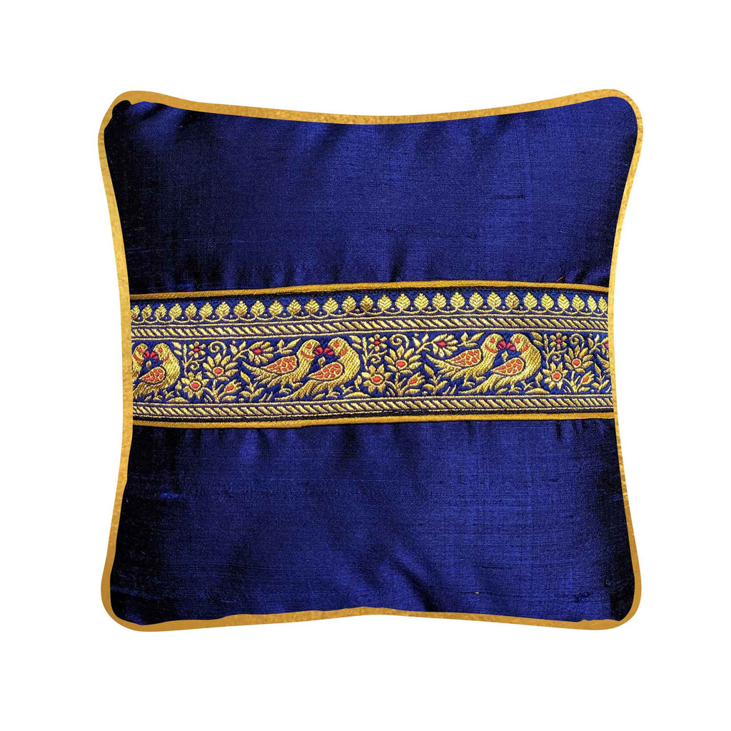 Navy and Gold Embellished Border Raw Silk Pillow Cover