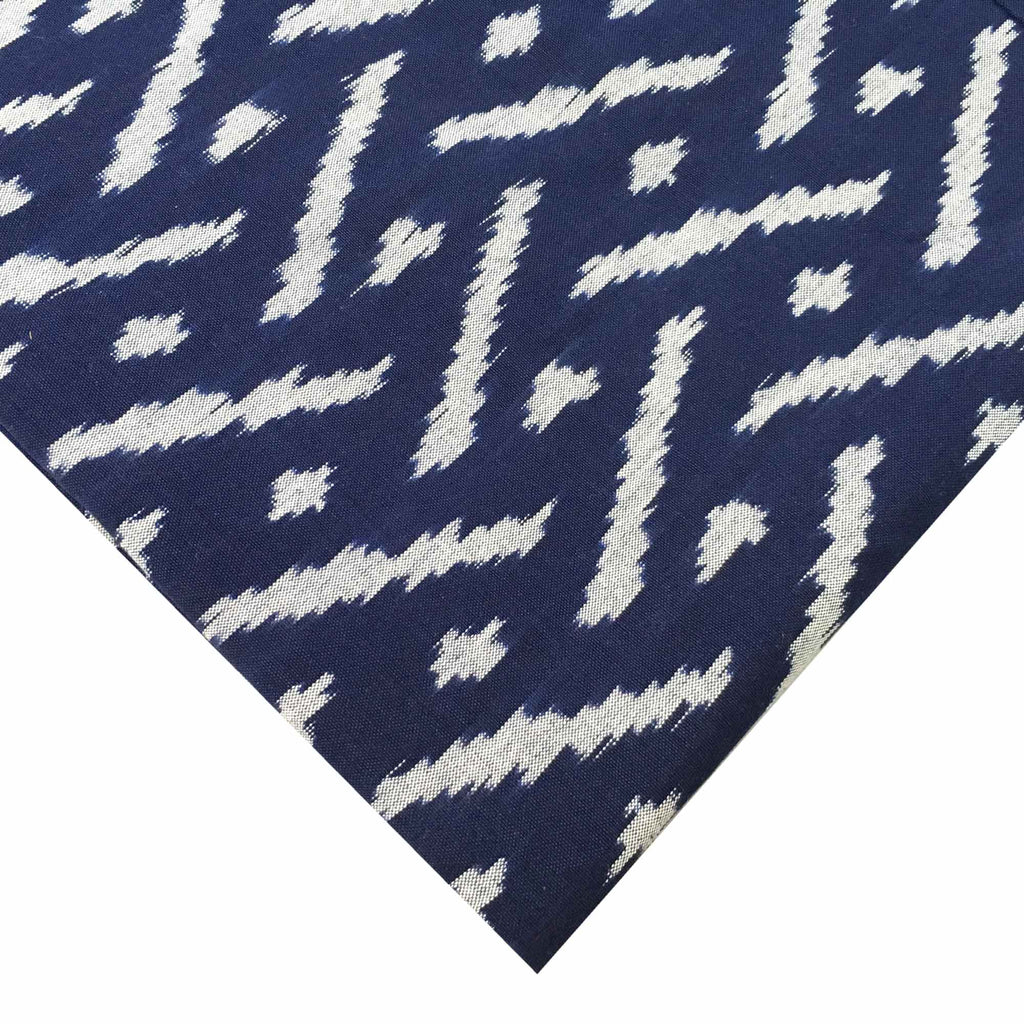 Navy and White Upholstery Weight Ikat Cotton Fabric