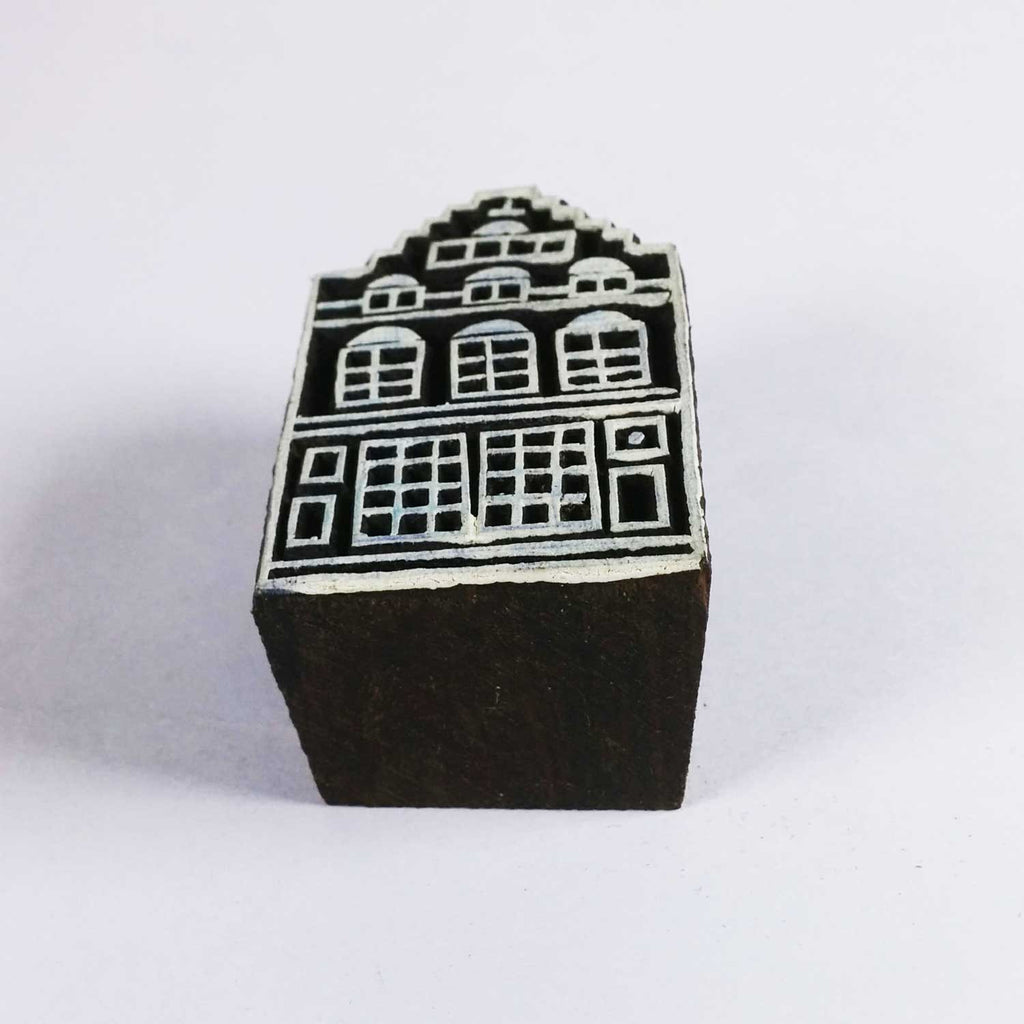 Old Building Wooden Block Printing Stamp