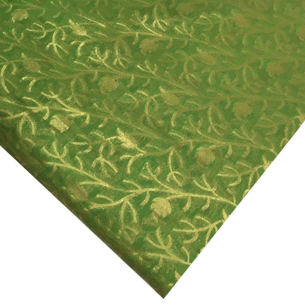 Olive and gold floral banarasi silk fabric