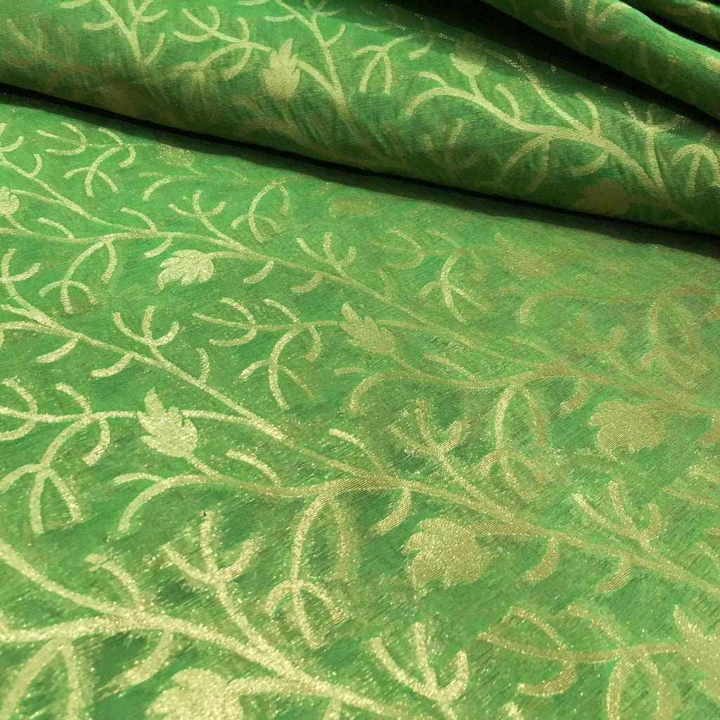 Olive and gold floral banarasi silk fabric Buy Online