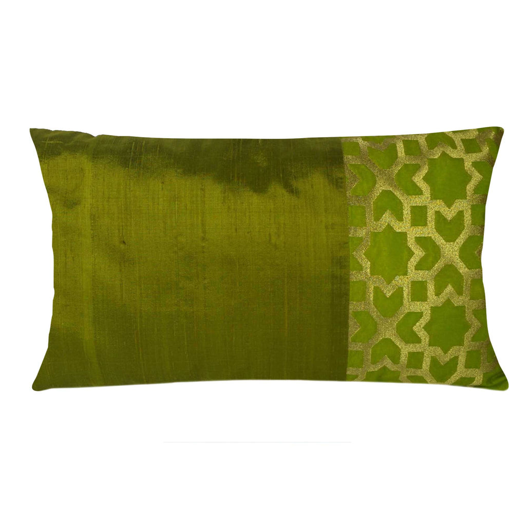 Olive and Gold Damask Raw Silk Lumber Pillow Cover Buy Online From DesiCrafts