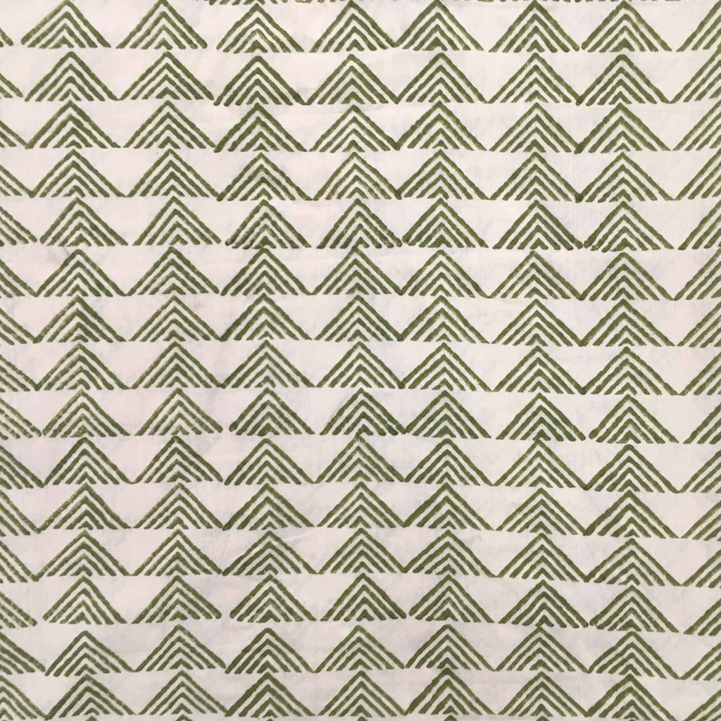 Olive and Beige Hand Block Printed Cotton Fabric Buy Online