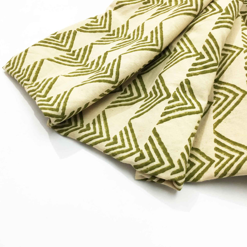 Fair Trade Olive and Beige Hand Block Printed Cotton Fabric