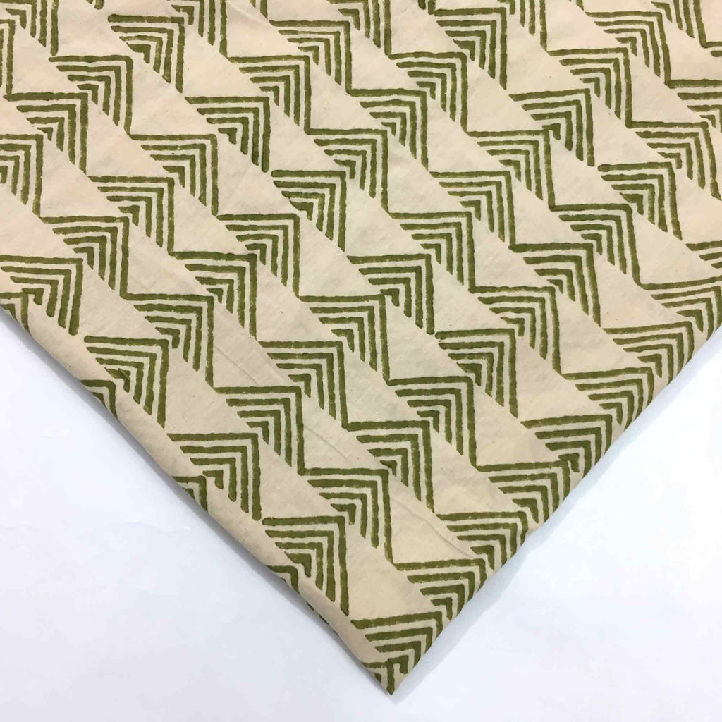 Olive and Beige Hand Block Printed Cotton Fabric
