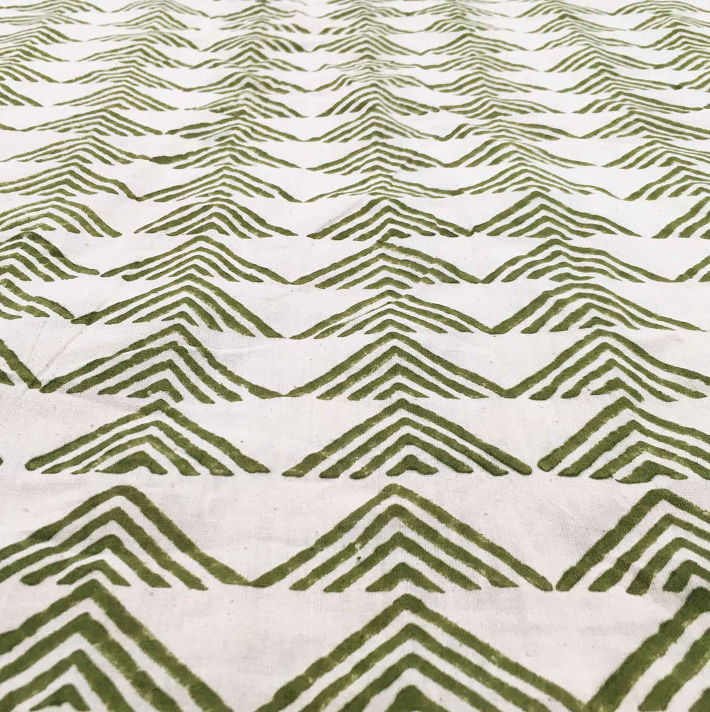 Buy Fair Trade Olive and Beige Hand Block Printed Cotton Fabric