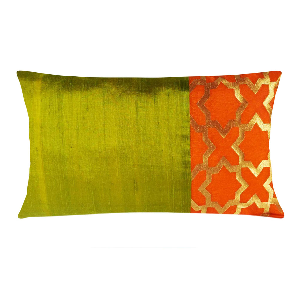 Olive and Orange Damask Raw Silk Lumber Pillow Cover Buy Online From DesiCrafts