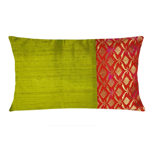 Olive and Orange Floral Raw Silk Lumber Pillow Cover Buy Online From DesiCrafts