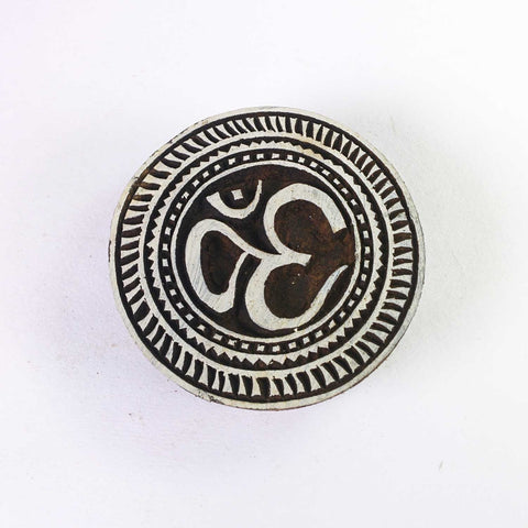 Om in Circle Wooden Stamp