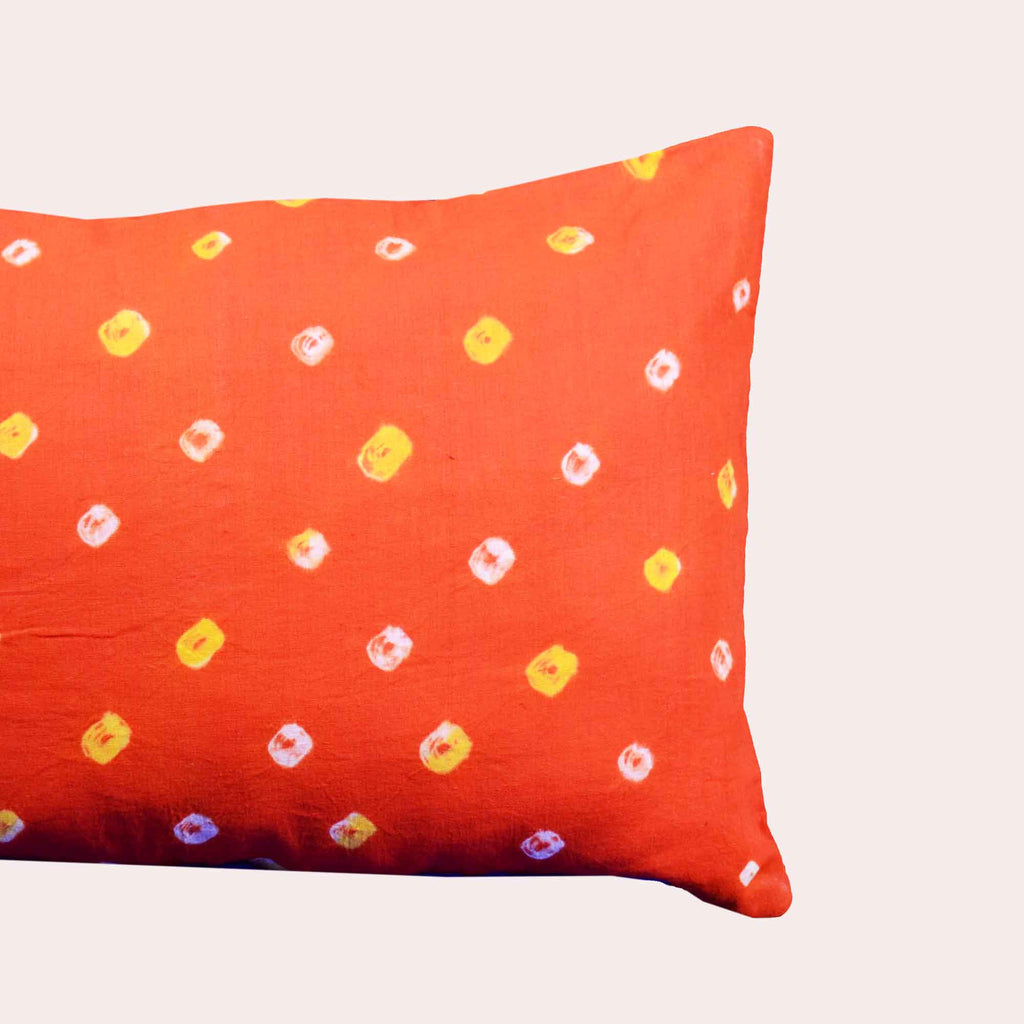 Orange Bandhani Lumbar Pillow Cover