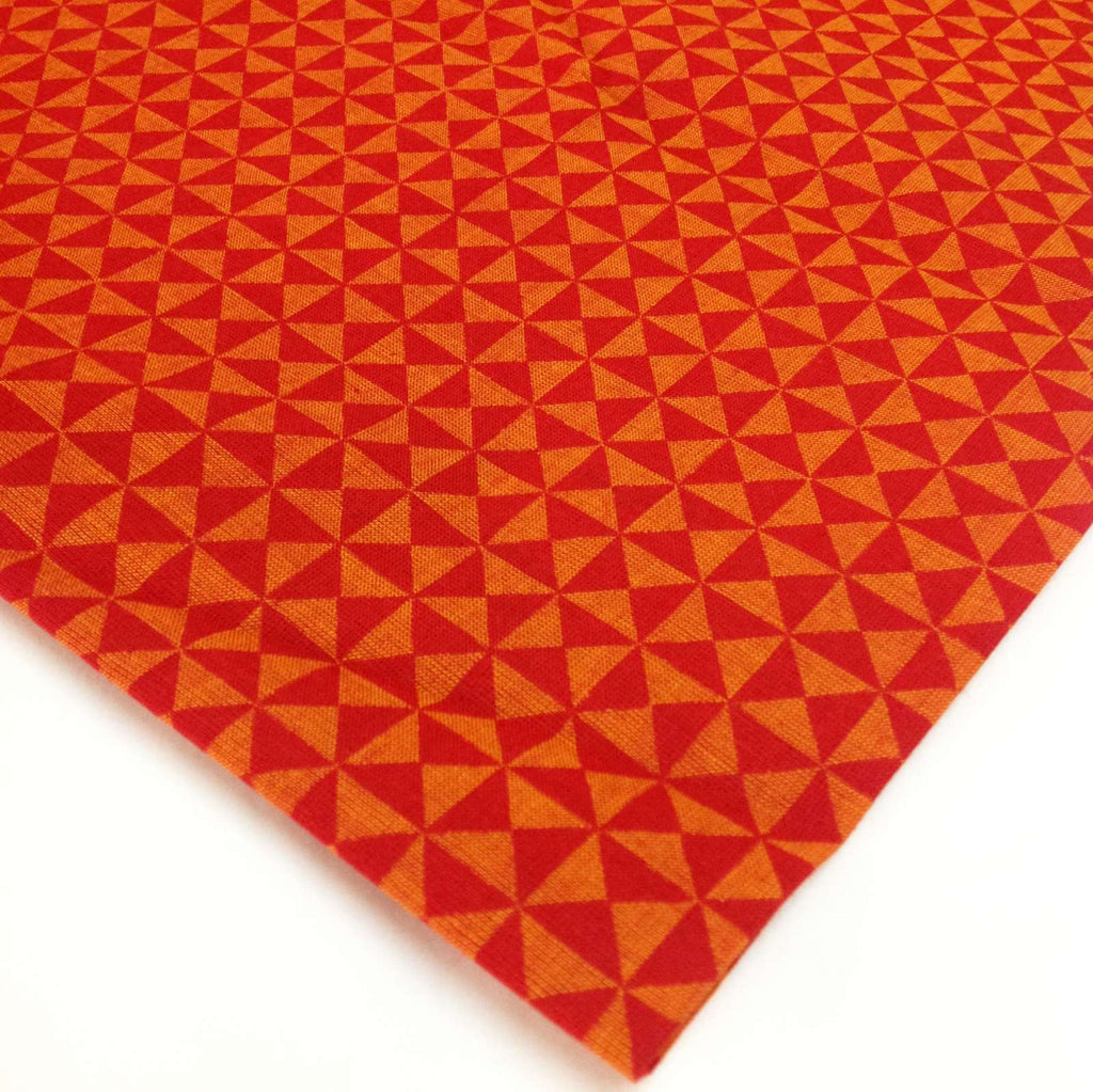 Buy Orange Check Pattern Hand Block Printed Hand Loom Fabric - Printed Cotton Fabric