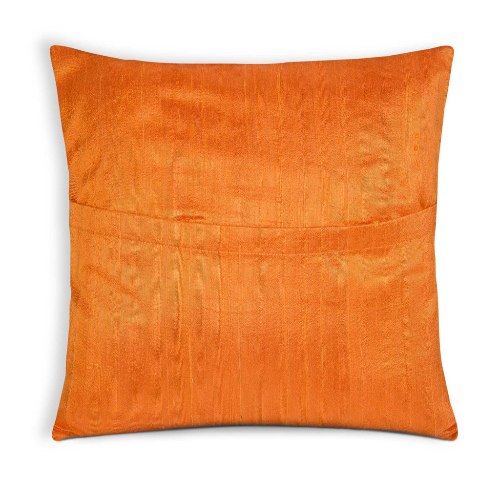 Orange and Gold Polka Silk Pillow Cover