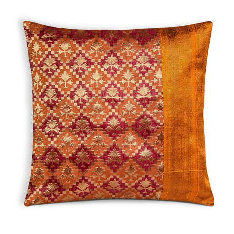 Rust and Gold Raw Silk Pillow Cover