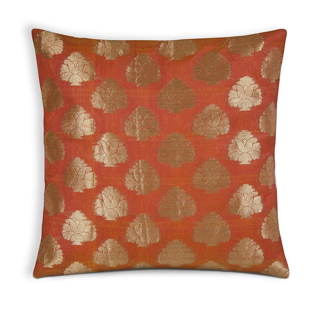 Orange and gold silk pillow cover