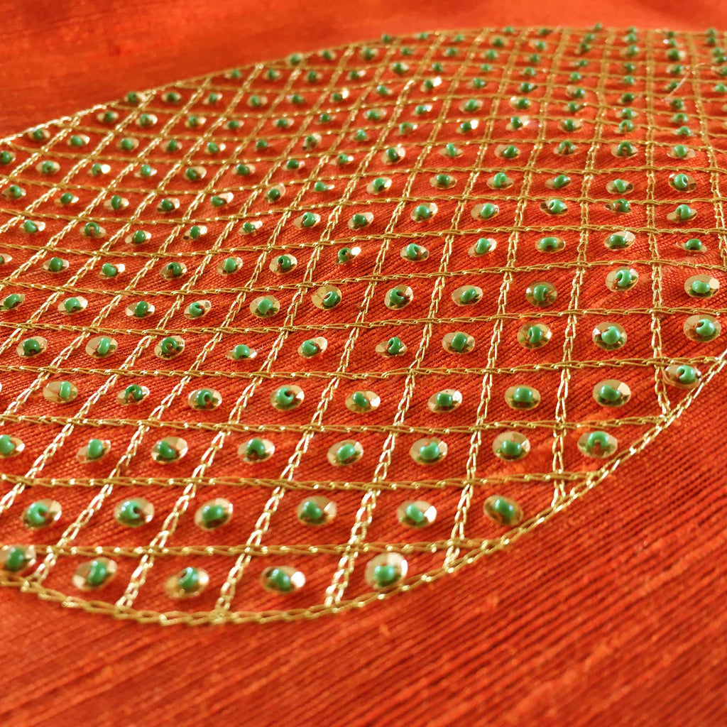 Orange and Green Embroidered Silk Cushion Cover