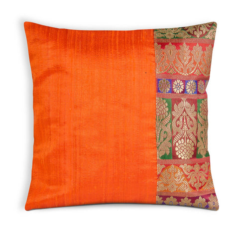 Orange Red and Green Raw Silk Pillow Cover