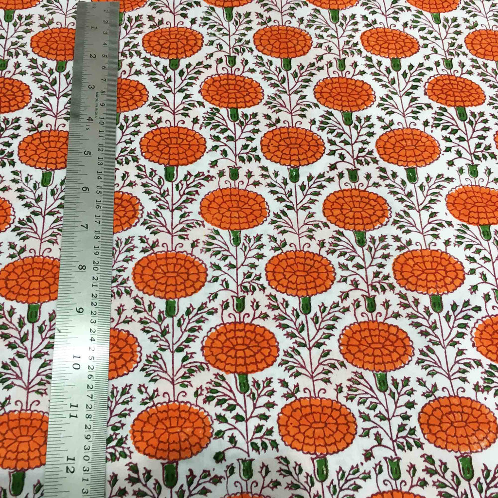 Marigold pattern printed cotton fabric