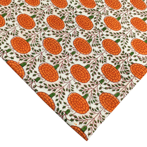 Marigold in Orange - Hand Block Printed Cotton Fabric
