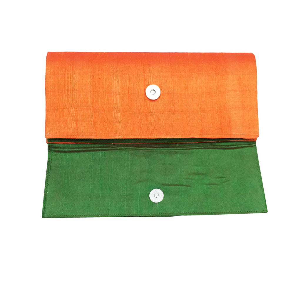 Aari Embroidery Green Silk Clutch Purse