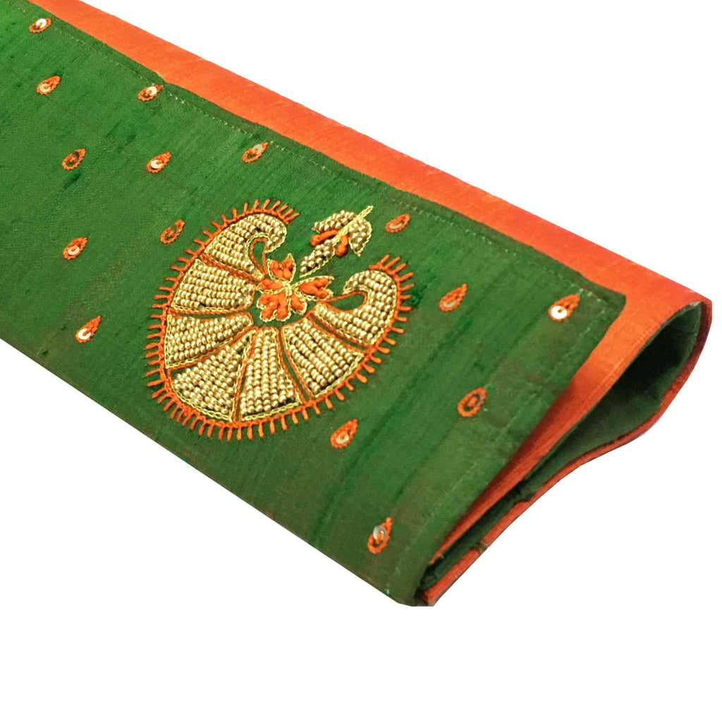 Handmade Aari Embroidery Green Silk Clutch Purse