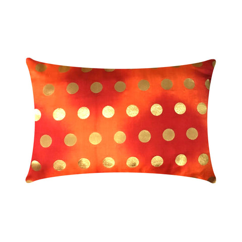 orange and gold polka dots silk pillow cover