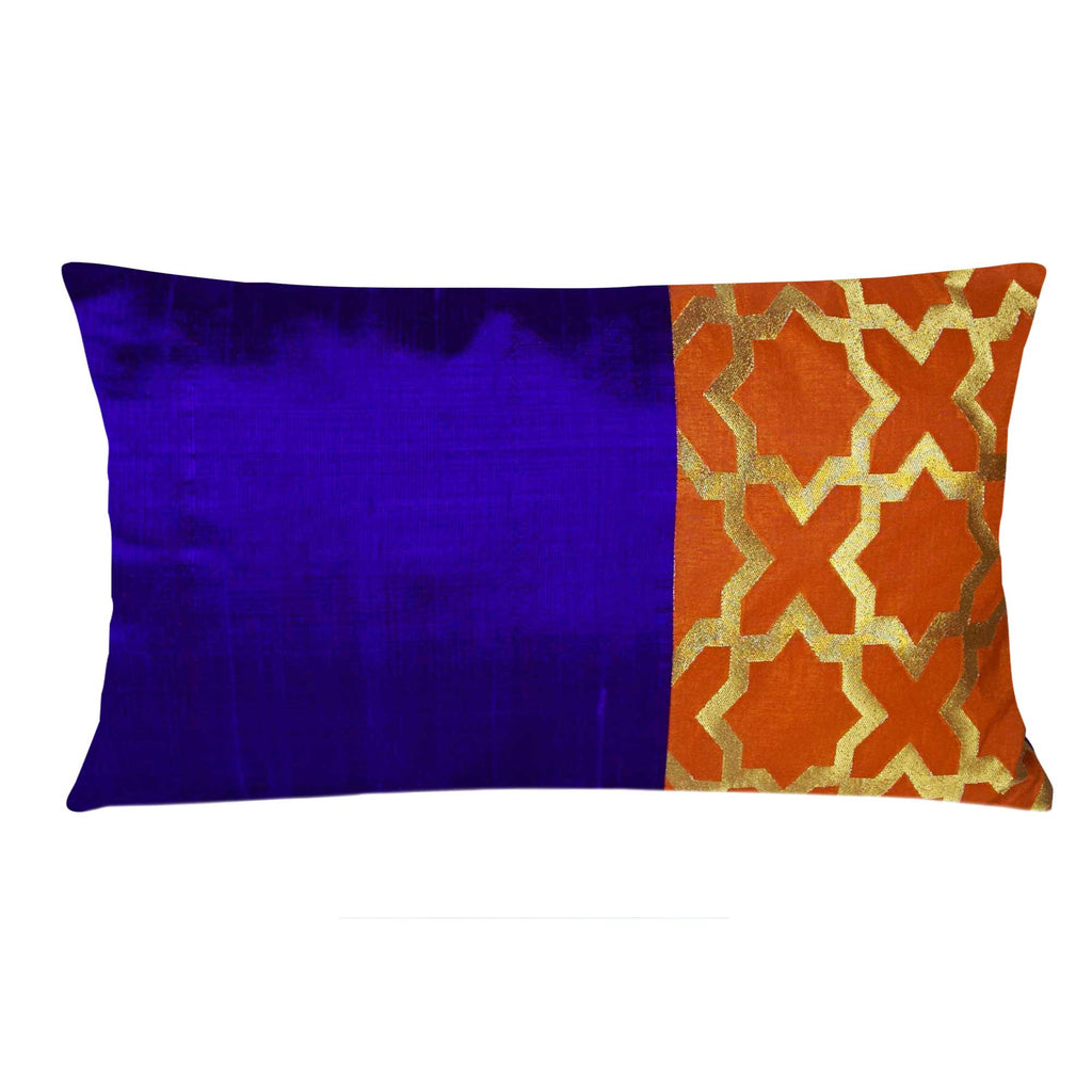Orange and Purple Damask Raw Silk Lumber Pillow Cover Buy Online From DesiCrafts