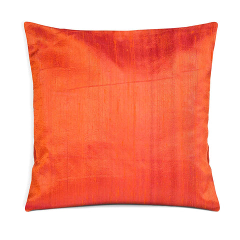 Raw Silk Pillow Cover in Orange