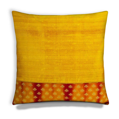 orange and yellow shibori silk cushion cover